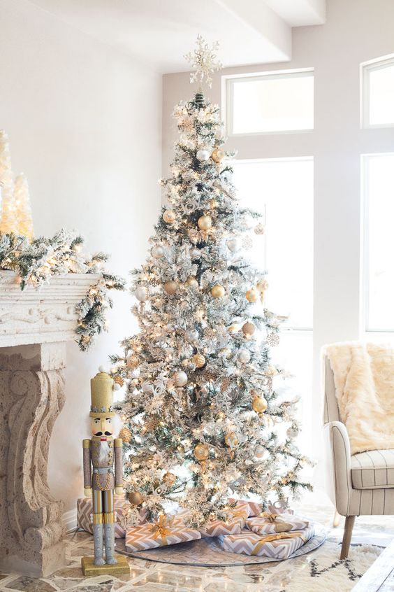 metallic decor is a popular option for a flocked tree as it bring glam and chic - Decorated Flocked Christmas Trees