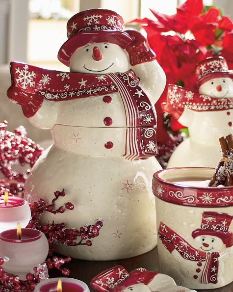 red and white snowman tea set for the kitchen