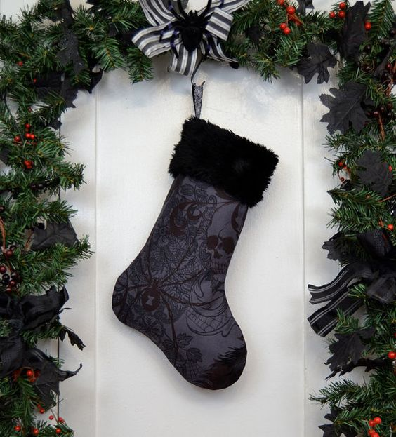 charcoal black Christmas stocking