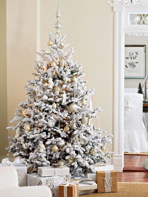 gold and silver ornaments look neutral and chic on a flocked tree - Flocked Christmas Tree Decorating Ideas