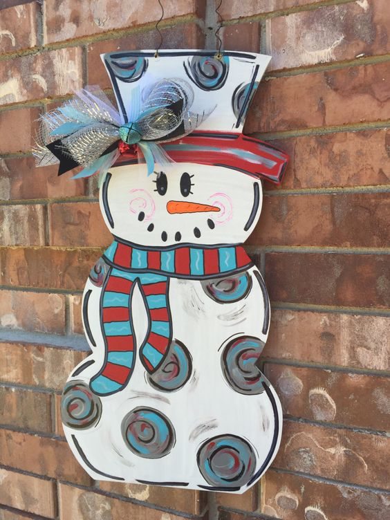 painted snowman door hanger