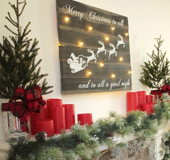 recycled wooden sign with white calligraphy and lights - Christmas Wooden Signs