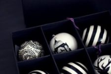 13 black and white Xmas baubles