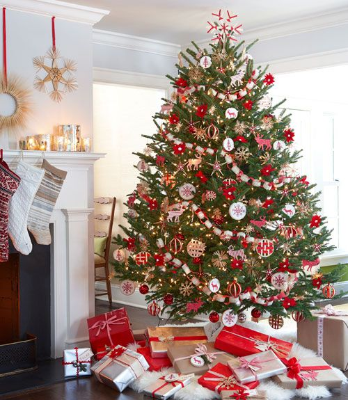 cheerful and bold red and white tree decor and gifts