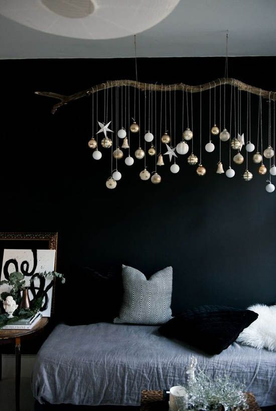 dark christmas bedroom decor with metallic ornaments