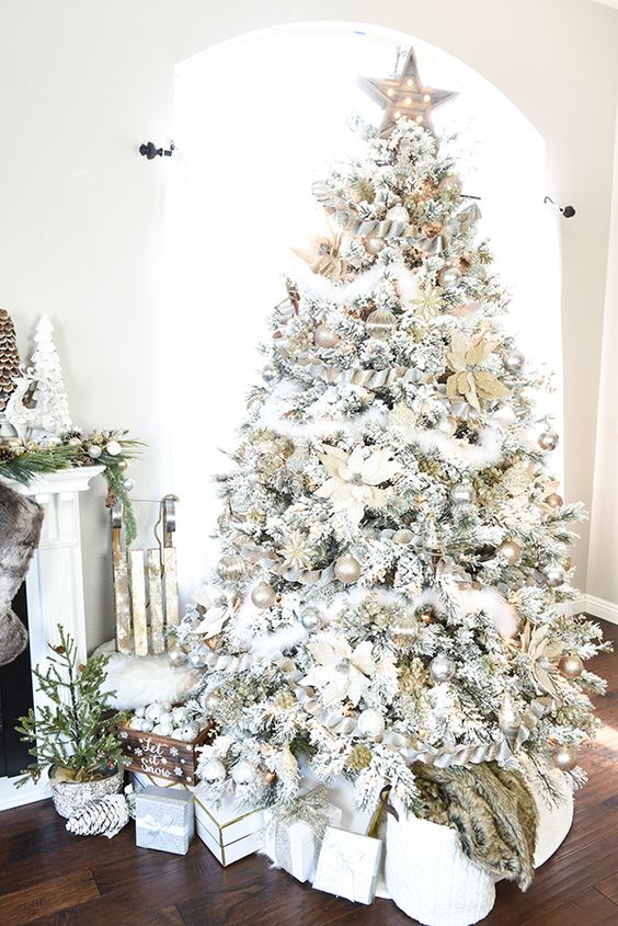 26 best flocked christmas tree d cor ideas digsdigs for White and gold tree decorations