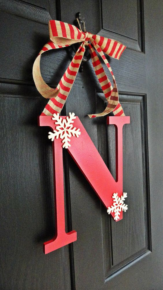 simple red monogram door hanger with striped ribbon