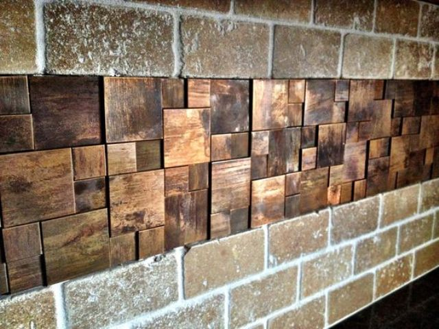 unique copper mosaic metal backsplash tiles