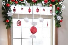 13 whimsy evergreen garland with ornaments and swirls