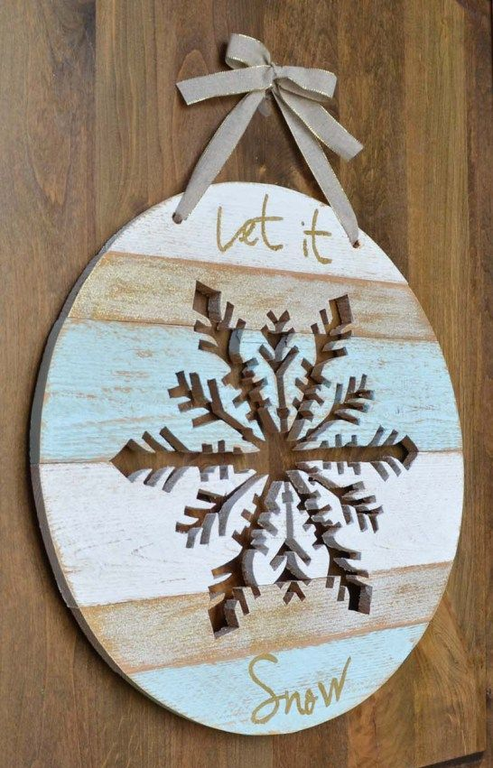 Let It Snow door hanger with a snowflake cut out in it