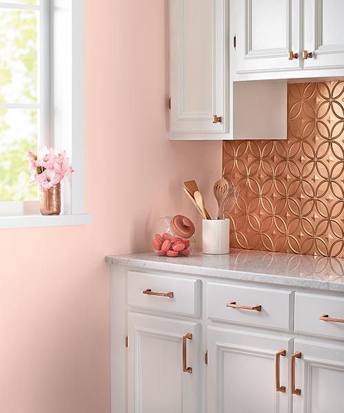27 trendy and chic copper kitchen backsplashes digsdigs for Kitchen cabinets lowes with red rose wall art
