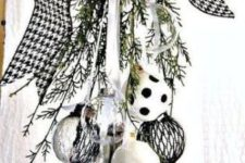 14 black and white Christmas ornament swag with a large bow