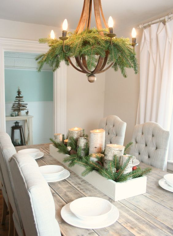 easy evergreen decor for your chandelier