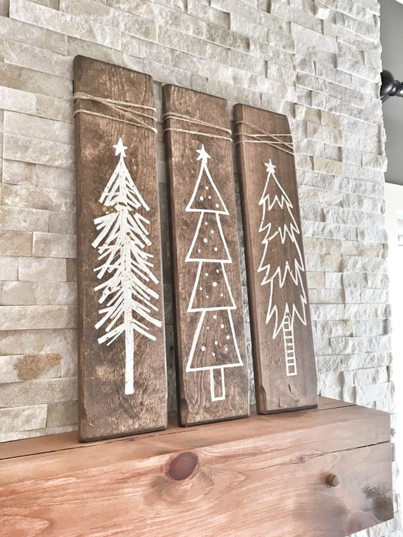 rustic white winter signs for mantel decor