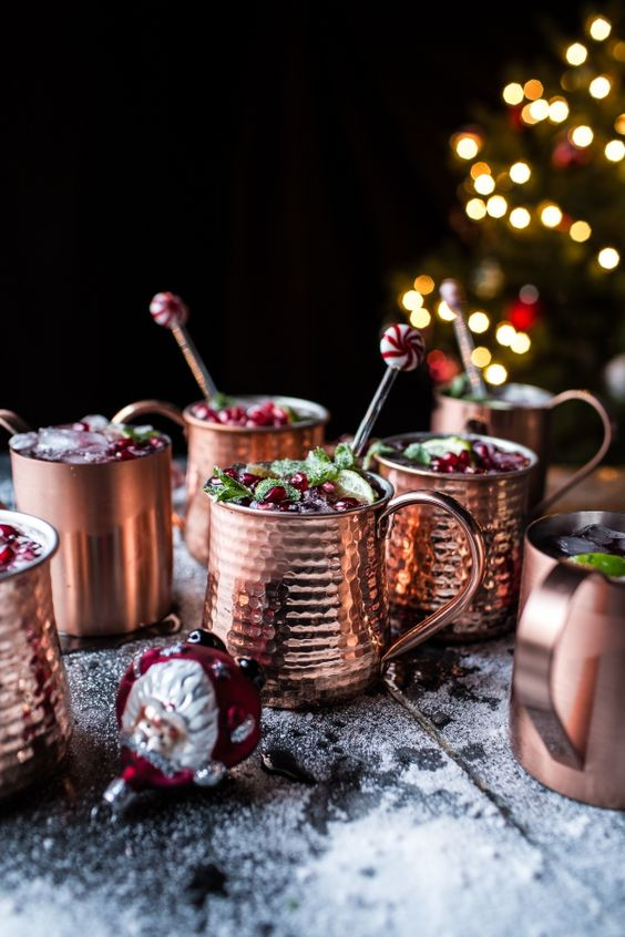 serve holiday drinks in copper mugs