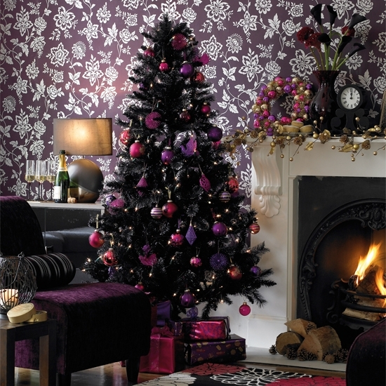 dark tree with purple pink and fuchsia ornaments for different decor