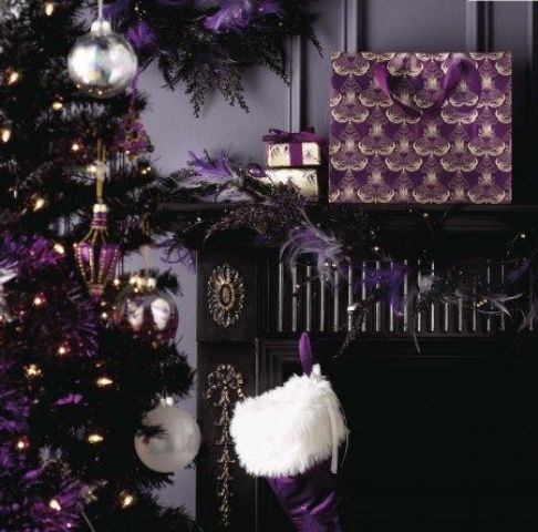 dark purple Christmas decor and a black tree
