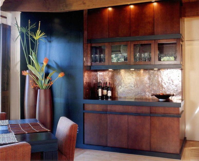 copper backsplash idea for contemporary kitchen