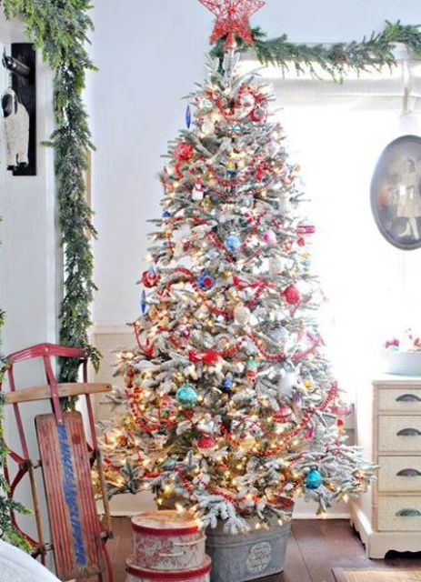 super bold tree in a zinc bucket for a rustic vintage look