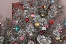 16 vintage aluminum Christmas tree with shiny brites