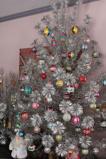 vintage aluminum Christmas tree with shiny brites