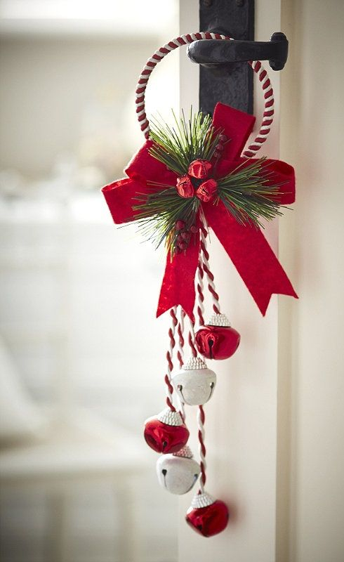 red and white jingle bells door hanger