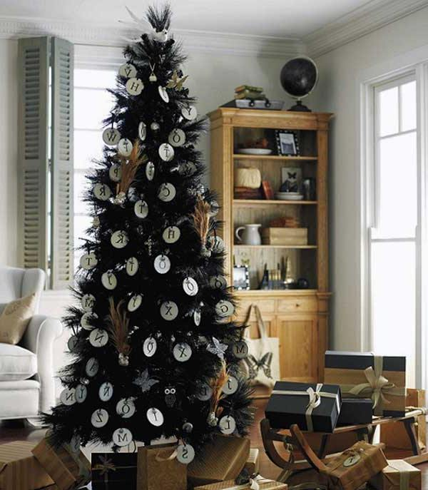 a modern black tree decorated with alphabet ornaments