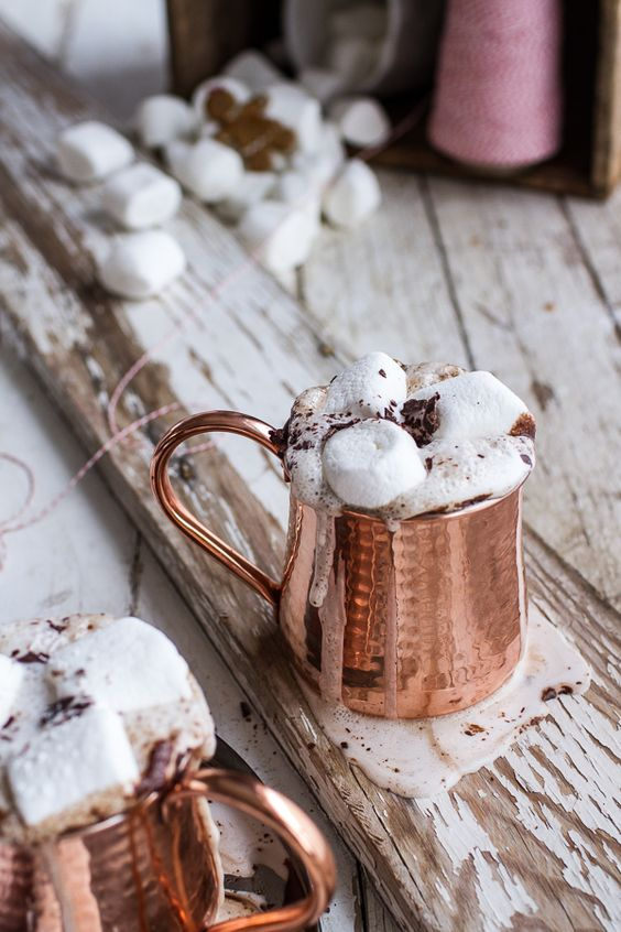 copper mugs with hot chocolate and marshmallows