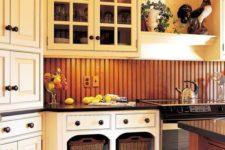 18 natural-colored warm wood beadboard backsplash for a cozy rustic feel