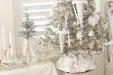 silver white christmas tree