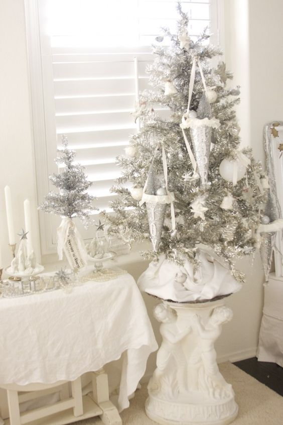 unique silver and white clay ornaments for decorating a silver Christmas tree