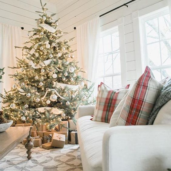 white and silver Christmas tree looks harmonious in a neutral interior