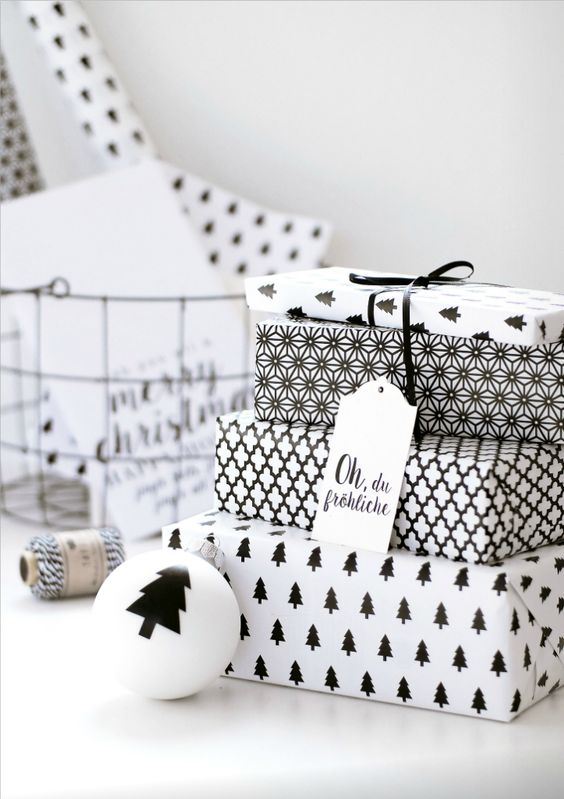 creative printed monochrome gift wrapping paper