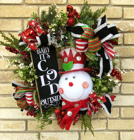 whimsy and bold snowman wreath with a chalkboard sign