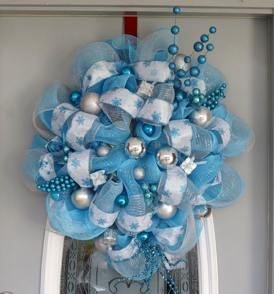 light blue white and silver decor mesh wreath with ornaments