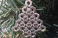 20 silver hex nut Christmas tree ornament