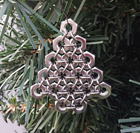 silver hex nut Christmas tree ornament