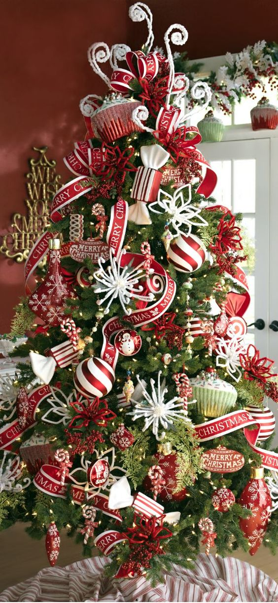 whimsical red and white Christmas decorations
