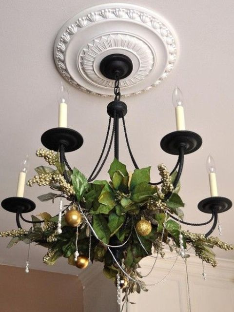 berries and leaves, gold ornaments for chandelier decor