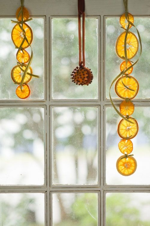 citrus hangings and a clove that will give your home holiday scents