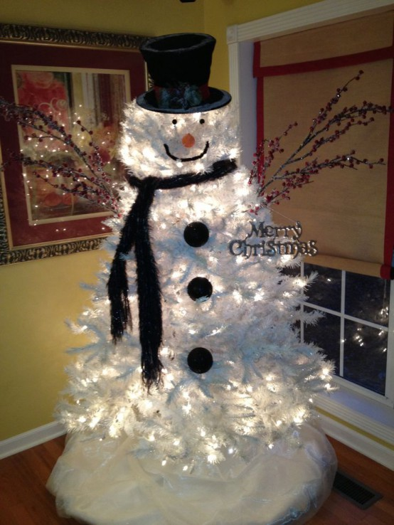 Lit Up Silver Christmas Tree Turned Into A Snowman For Kids Room