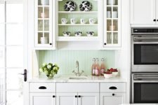 21 pastel green is among the most popular colors for beadboard backsplashes
