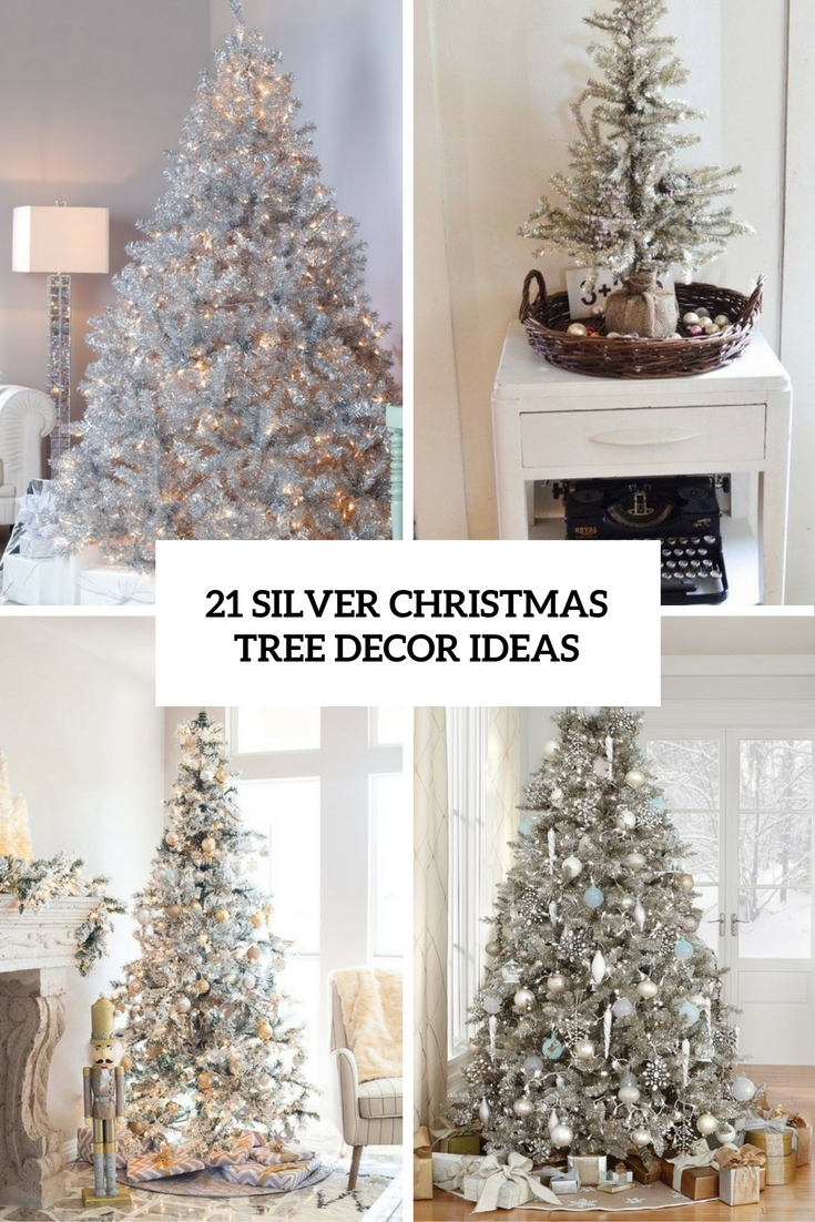 silver christmas tree decor ideas cover - Silver Christmas Tree Decorations