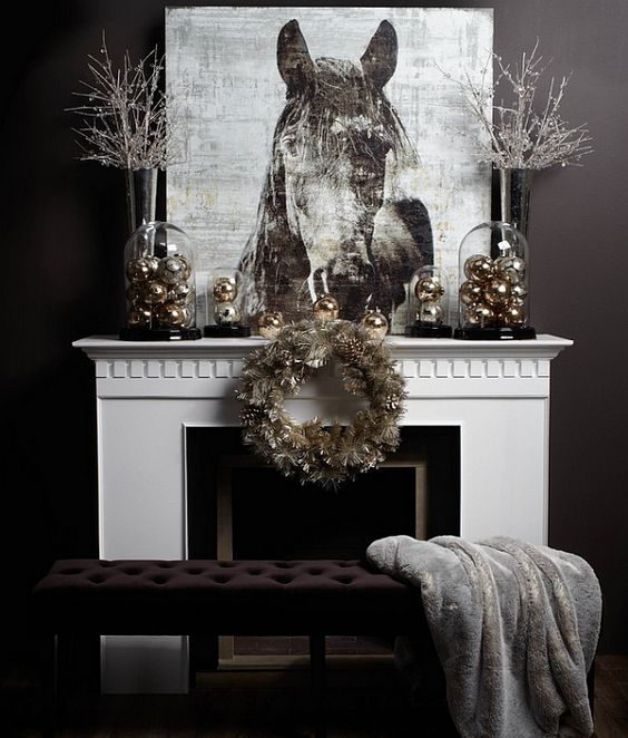 sophisticated and cool wintery look with grey and gold cloche, black base filled iwth silver and gold balls