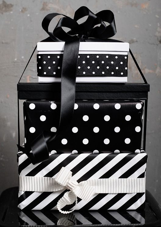 stripe and polka dot gift wraps are pure elegance