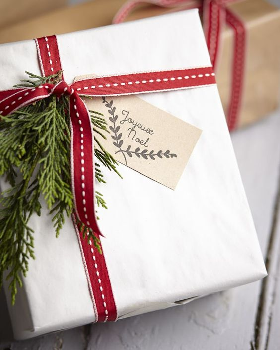 wrap your gifts in red and white for a cozy look