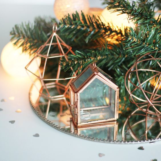 copper decorations of wire and with glass