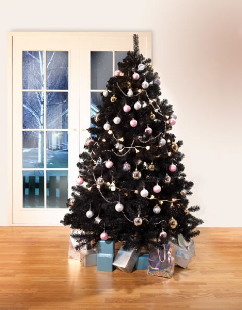 decorate your black tree with pastel ornaments to make it look cute and contrasting