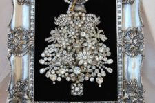 22 framed Christmas tree of vintage brooches will be a nice art for the holidays