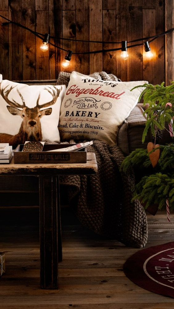 moody rustic Christmas decor with industrial touches